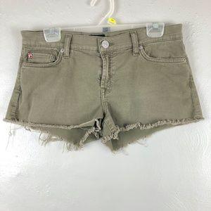 Hudson Army Green Kenzie Cutoff Denim Shorts Sz 27